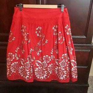 DKNY red Hawaiian print skirt.